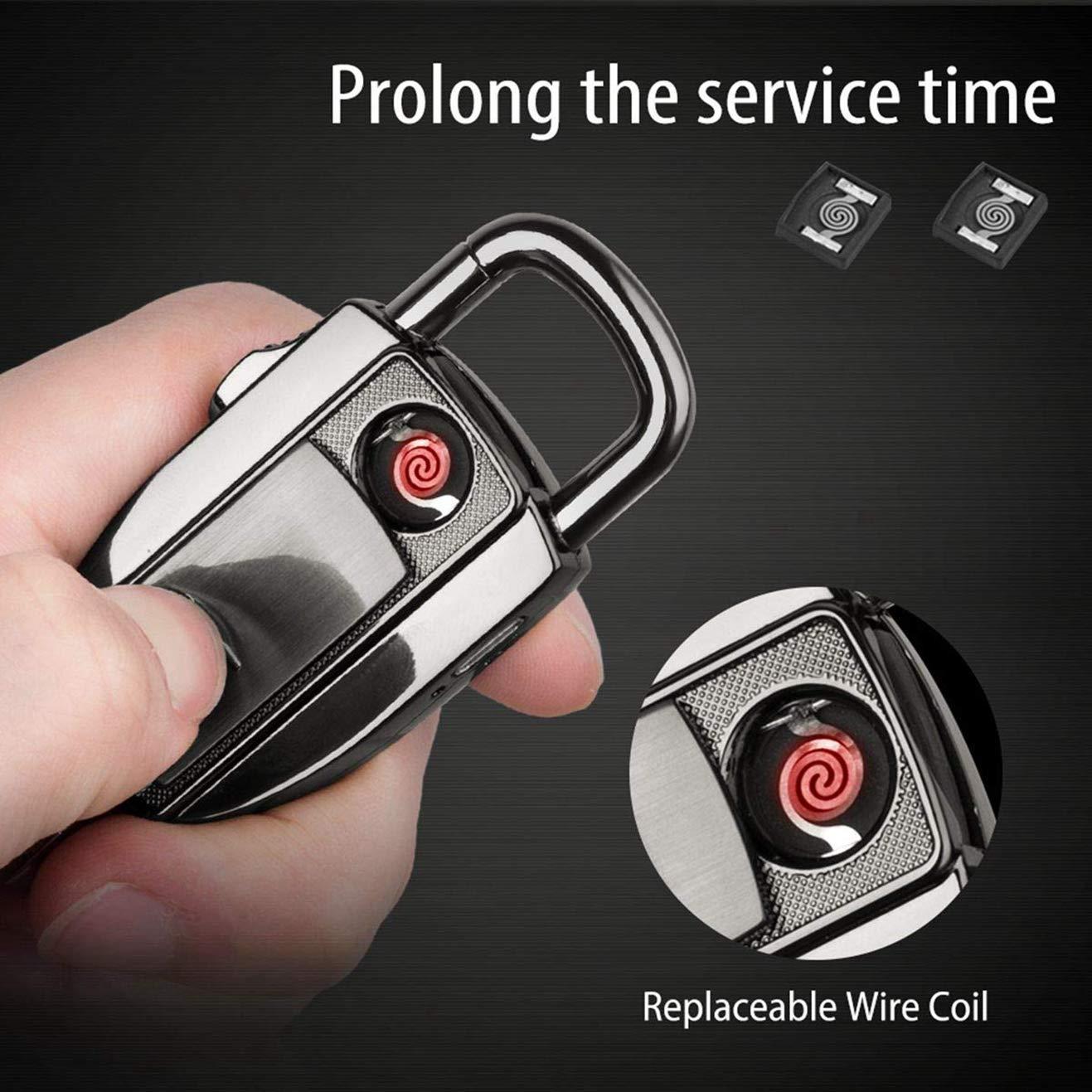 VVAY Encendedor Mechero Llavero Eléctrico USB Recargable para Cigarrillos sin Llama Resistente al Viento