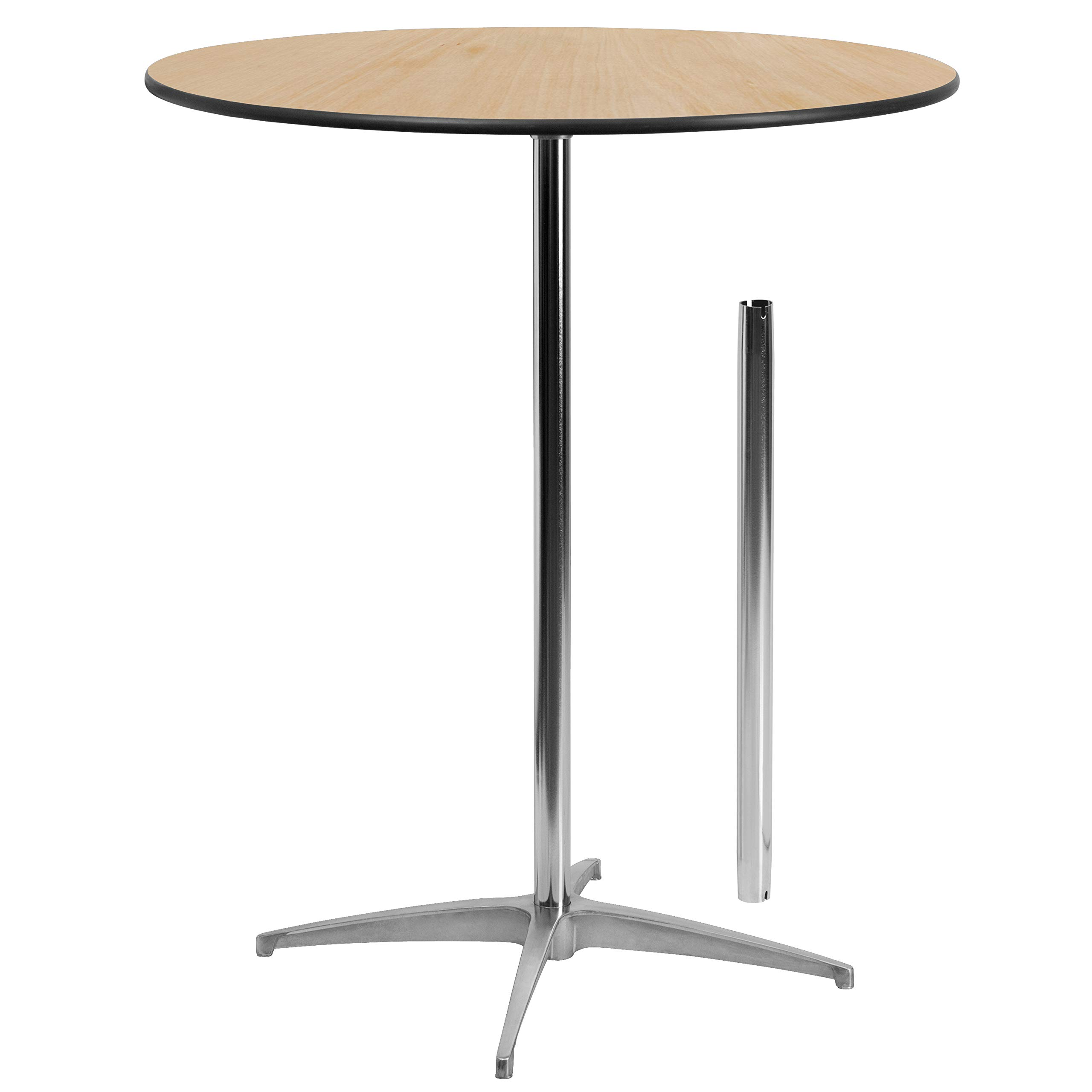 "Flash Furniture 24"" Round Wood Cocktail Table with 30"" and 42"" Columns"