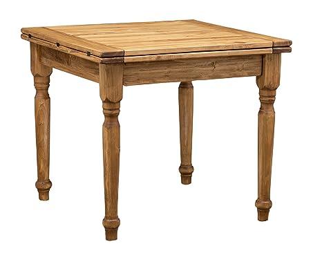 Tavolo Da Pranzo Quadrato Allungabile.Tavolo Quadrato Allungabile In Legno Massello Di Tiglio Stile Country Finitura Naturale 90x90x80 Cm