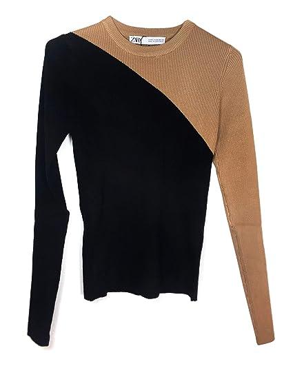3ae74454 Zara Women's Colour Block Sweater 3471/002 (Small) Black: Amazon.co ...