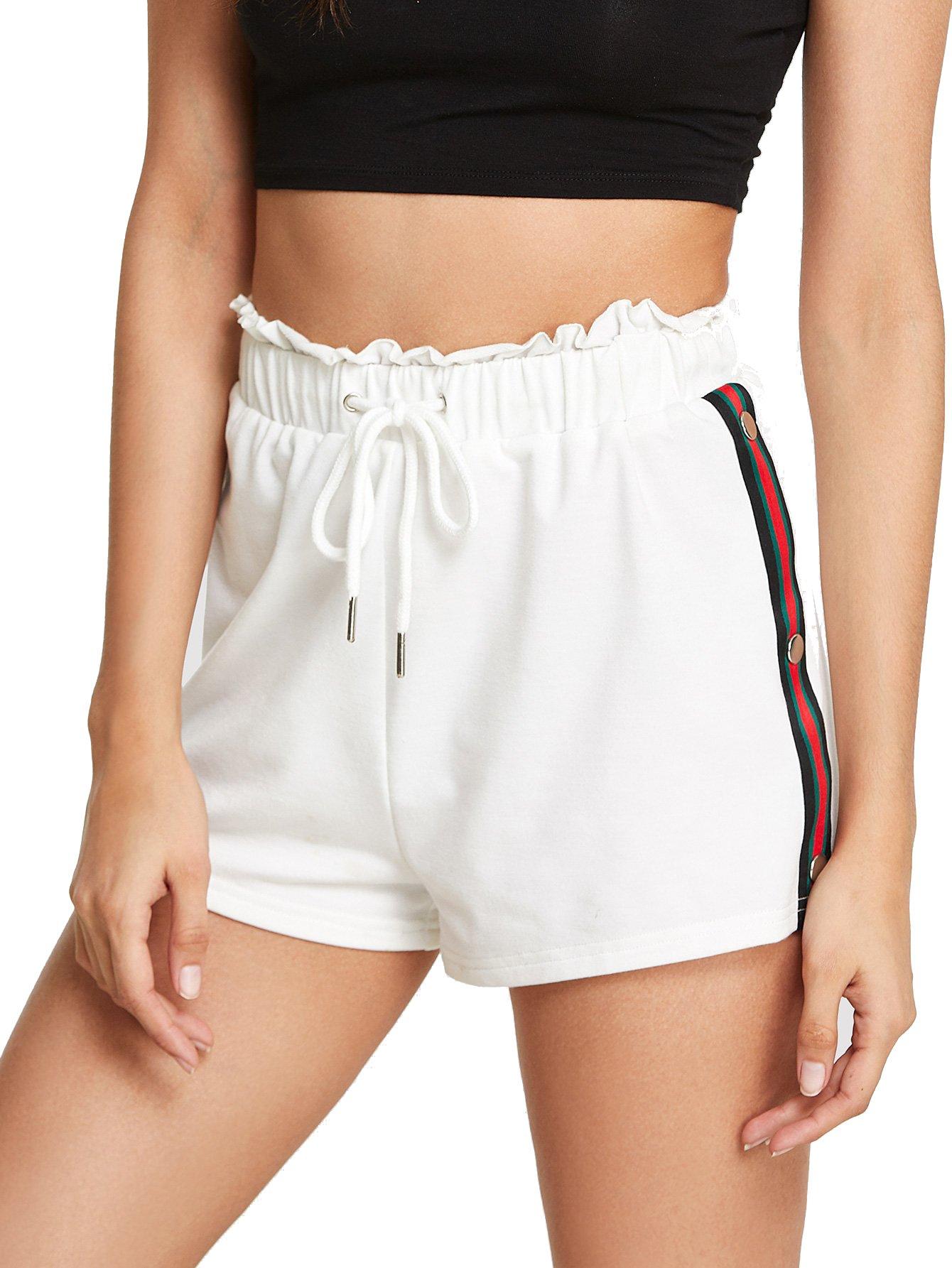 SweatyRocks Women Summer Casual Sports Workout Shorts Drawstring Elastic Waiste Hot Shorts White S by SweatyRocks (Image #2)