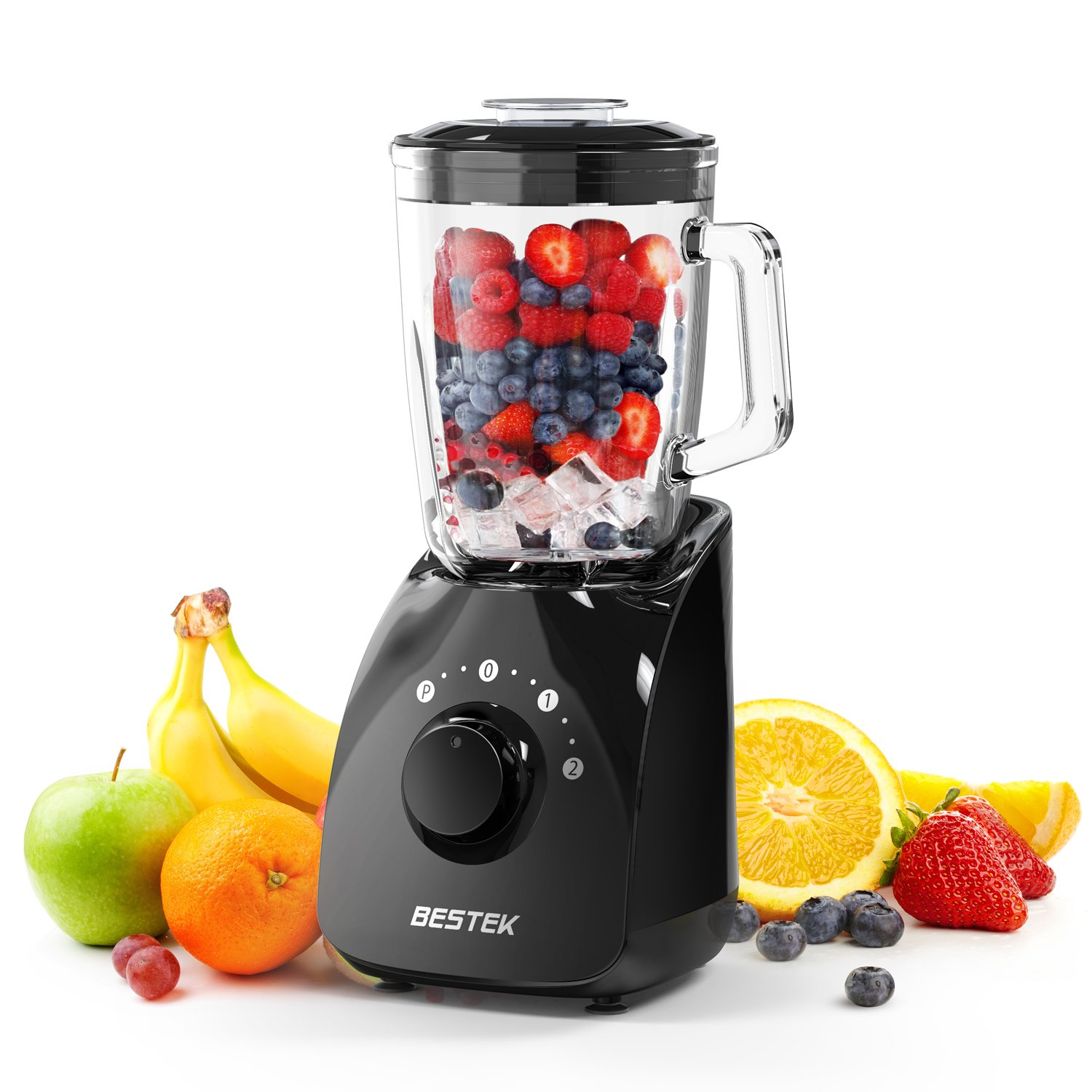 Smoothie Blender, BESTEK 350 Watts 20000 RPM Smoothie Maker with 1.5L BPA Free Glass Jar,2-Speed Function,Mixer,High Speed Blender for Shakes, Baby Food, Healthy Drink