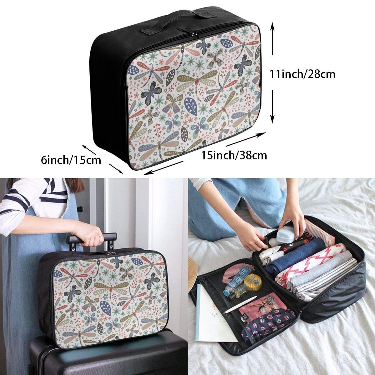 Travel Luggage Duffle Bag Lightweight Portable Handbag Dragonfly Large Capacity Waterproof Foldable Storage Tote