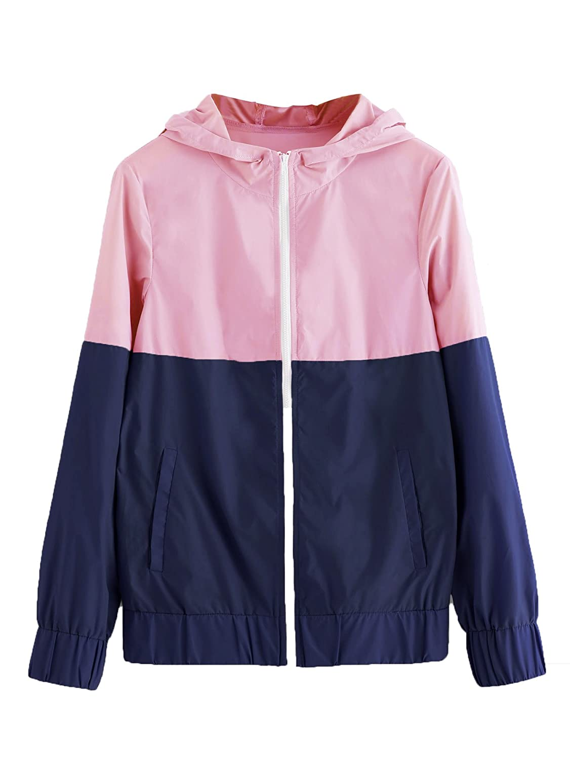 ee56a052c230 Floerns Women s Color Block Hooded Casual Thin Windbreaker Jacket at ...