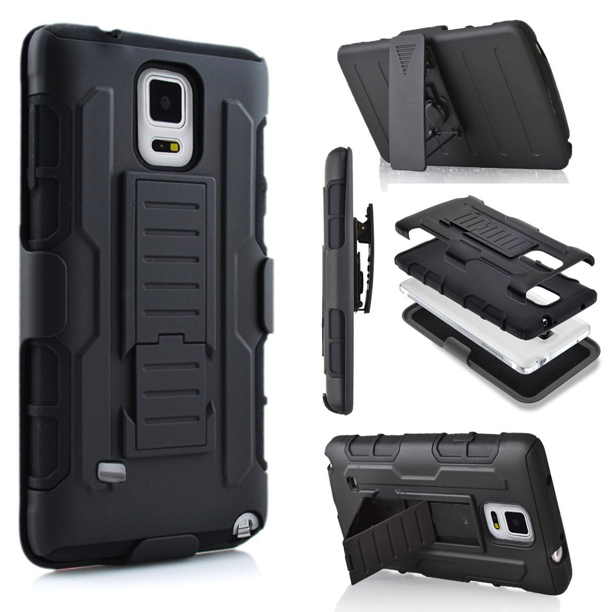Galaxy Note 4 Case, Jwest Note 4 Holster Case Full-Body Rugged Shock Proof Defender Heavy Duty Armour Tough Swivel Belt Clip Stand Case Cover for Samsung Galaxy Note 4(Black/Black) 4326506588