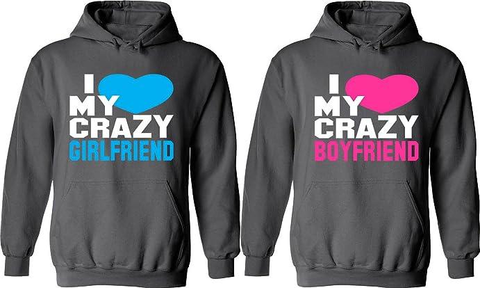 Amazon.com: I Love My Crazy Girlfriend & Boyfriend - Matching ...