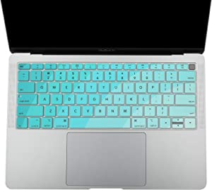 CaSZLUTION Silicone Keyboard Cover Skin Compatible with 2019 2018 MacBook Air 13 Model A1932 with Touch ID, US Keyboard Layout (Bow-Fade-T Blue)