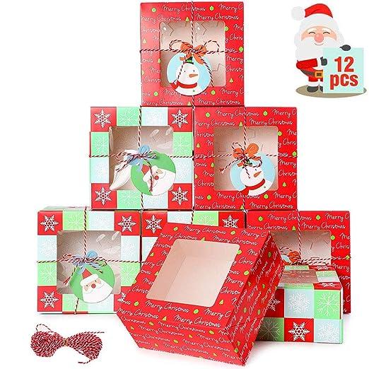 wordmo 12 Piezas Cajas de Galletas de Navidad Cajas de ...