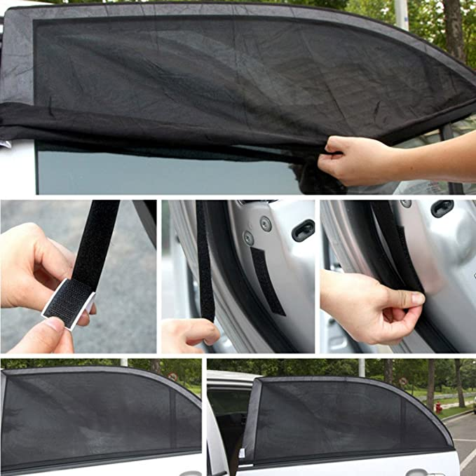 MeiBoAll Car Rear Window Sun Shade,2Pcs Black Gauze Net Sunscreen Insulation Net Cover for Most Cars and SUV by 10050CM