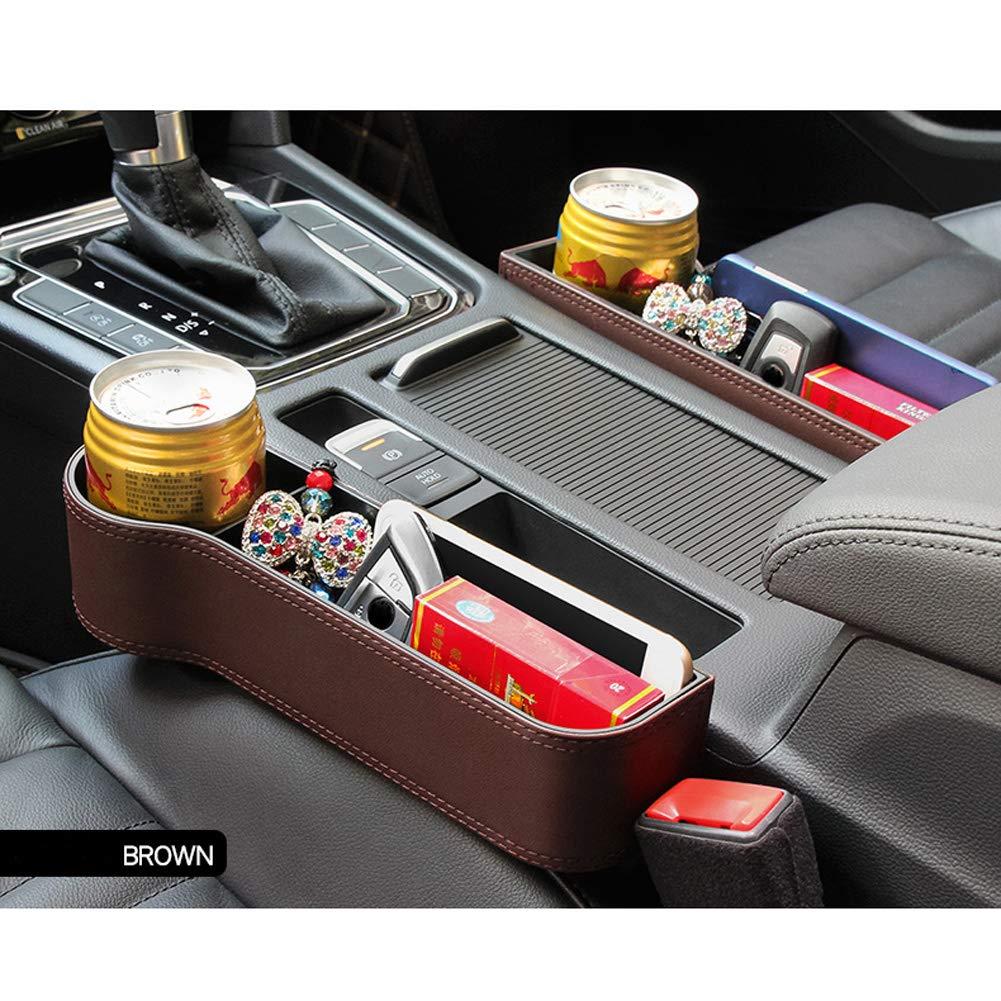 車のシートギャップフィラーキャッチャー、車のサイドポケット収納オーガナイザーキャディ - プレミアムPUレザー、車の整理整頓、メインの運転位置に適用   B07LDCJGC8