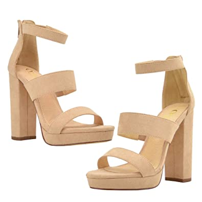 a7ede7bcc027 Olivia and Jaymes Women s Strappy Triple Band Ankle Strap Chunky Platform  High Block Heel Sandal for