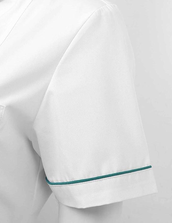 iEFiEL damska pielęgniarka, uniform, krÓtki rękaw, lekarstwo, z kołnierzem, bawełna, odzież zdrowotna XS-3XL: Odzież