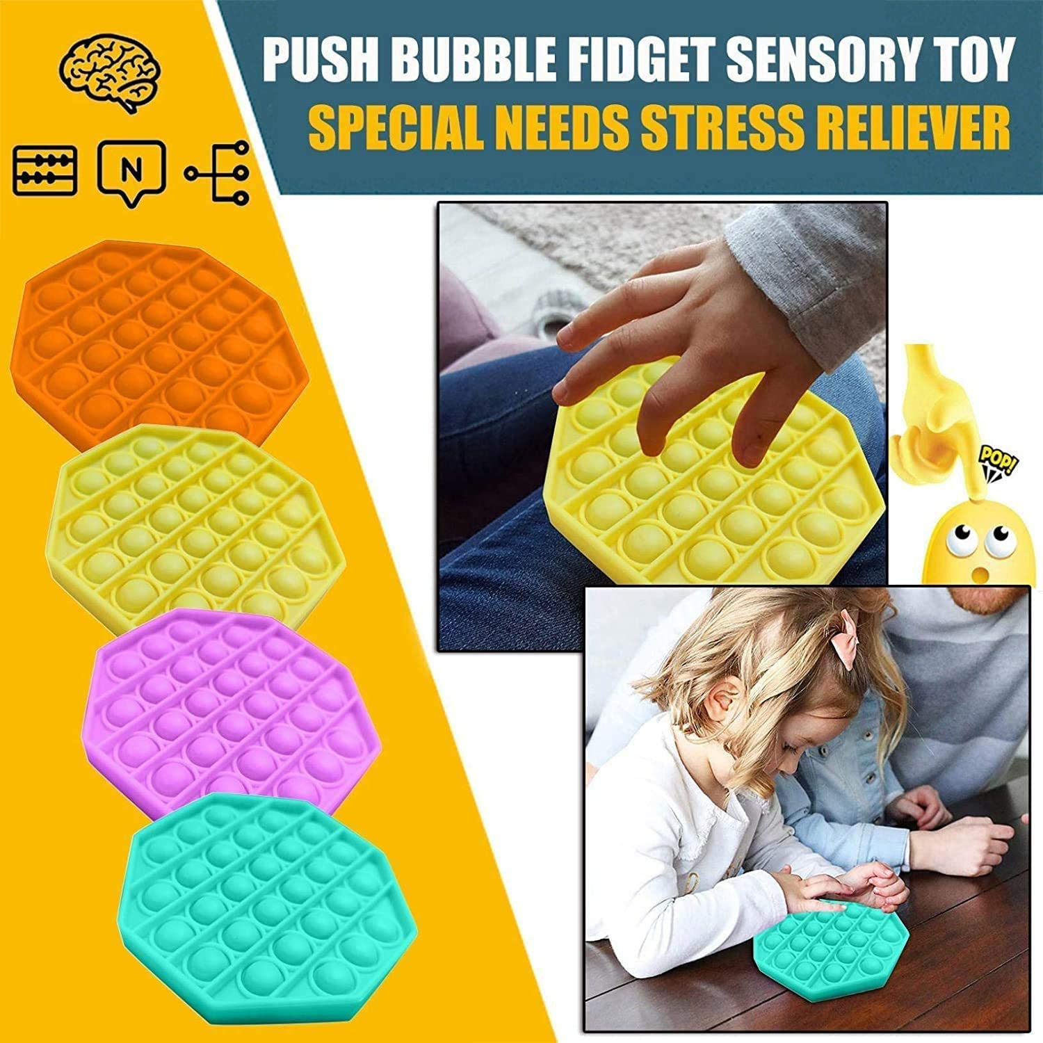 Silicone Stress Reliever Toy,Autism Special Needs Stress Reliever,for Family,Kids,Students,and Friends-SJF02 3PCS Leencum Push pop pop Bubble Sensory Fidget Toy,Squeeze Sensory Toy