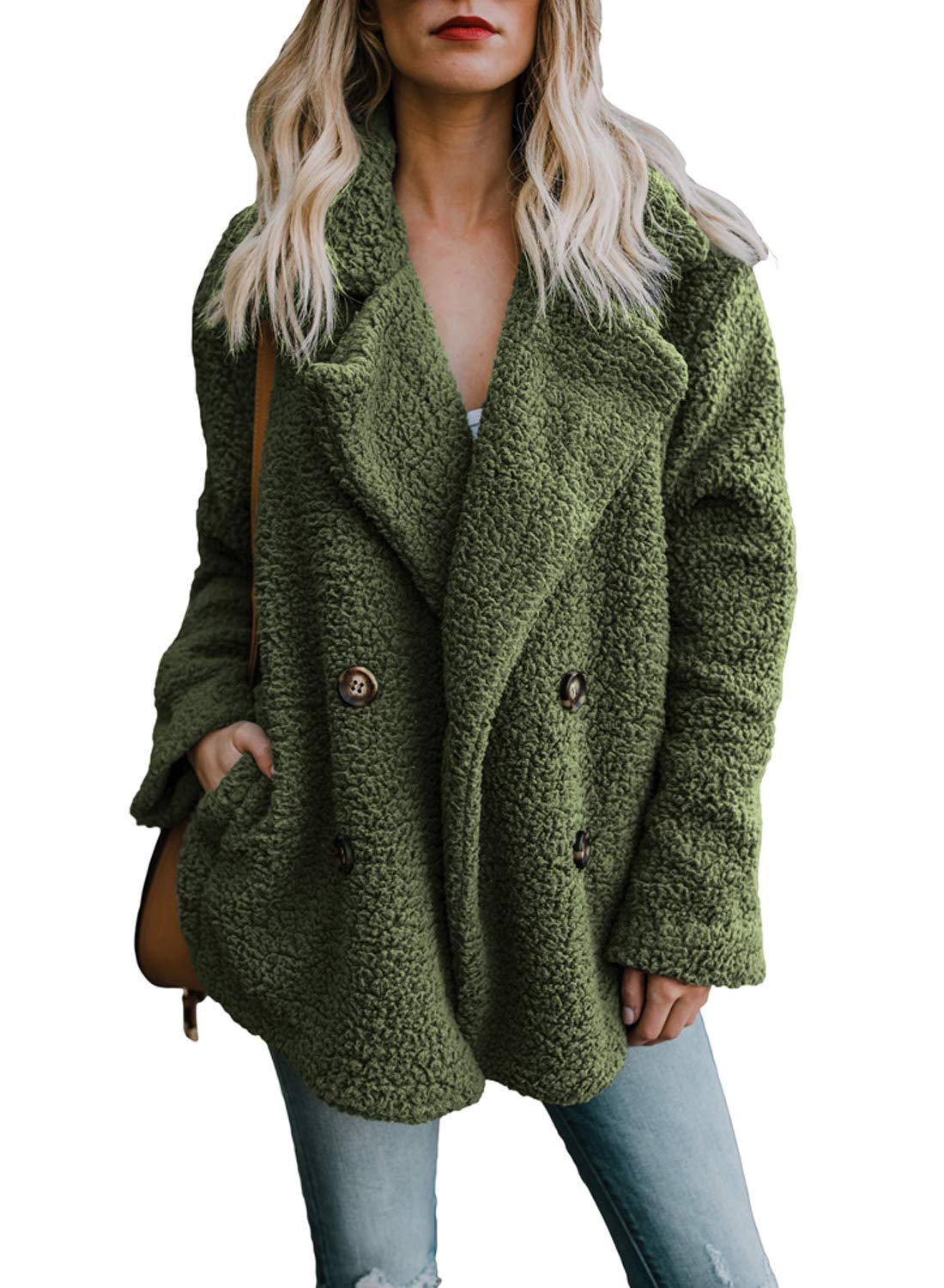 Dokotoo Womens Coats Winter Ladies Cozy Warm Casual Oversized Casual Cardigans Long Sleeve Button Open Front Fuzzy Coat with Pockets Sweaters Fluffy Outerwears Green Large by Dokotoo