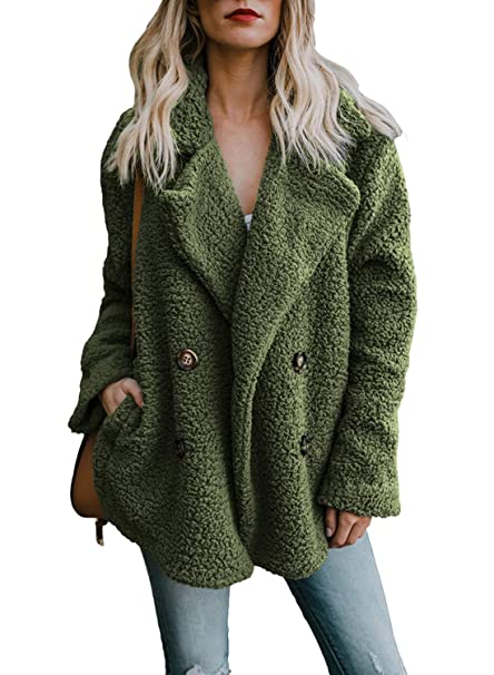 qualità superiore bellezza il più economico HOTAPEI Women's Fuzzy Fleece Open Front Cardigan Jacket Coat Outwear with  Pockets
