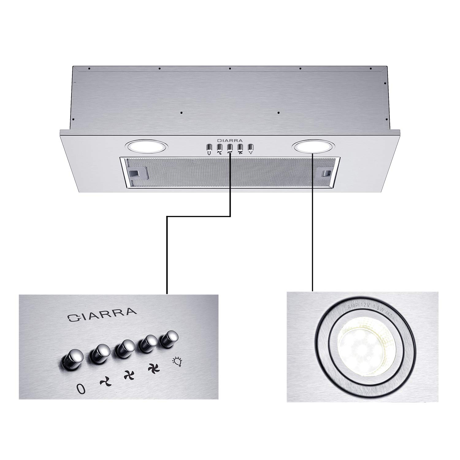 CIARRA CBCS5913A Integrated Cooker Hood 52cm Stainless Steel Range Hood LED Light 3 Speeds Undercabinet Extractor Fan
