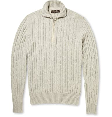 c25f963914c7 Loro Piana Cable-Knit Baby Cashmere Half-Zip Sweater  Amazon.co.uk ...