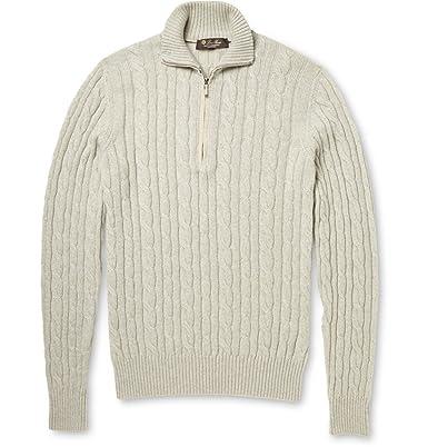 f7f210e01bec Loro Piana Cable-Knit Baby Cashmere Half-Zip Sweater  Amazon.co.uk  Clothing