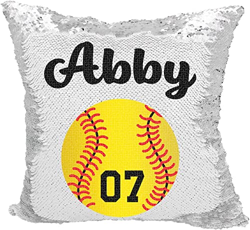 Softball Sequin Pillow, Personalized Softball with Number Reversible Sequin Pillow Silver White