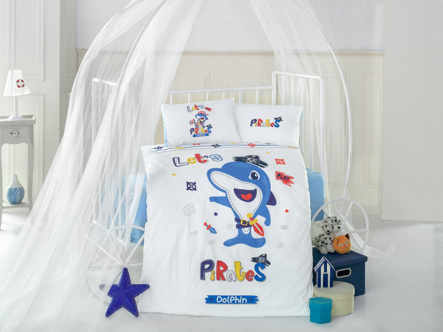 Dolphin Blue Baby Cot Bed Duvet Cover Set, 100% Cotton Soft and Healthy 4-Pieces Bedding Set