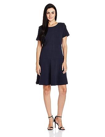Tommy Hilfiger Women s Cotton Pleated Dress (A6AJV007 Navy Blazer XL) 5282b7d04f