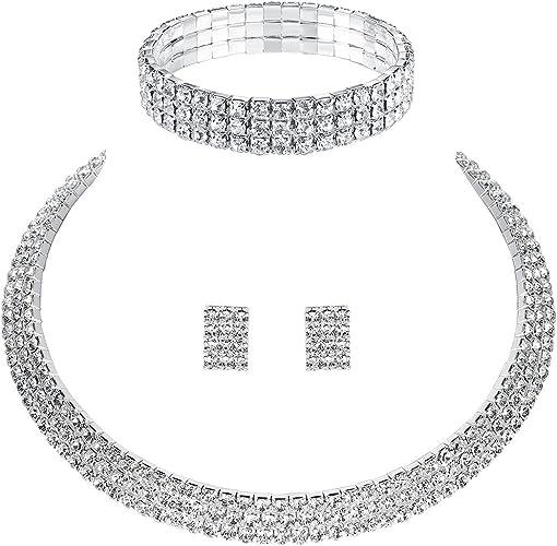 Sparkling Diamante Two Row Choker Bridal Necklace+e//rings wedding.Bride.Party