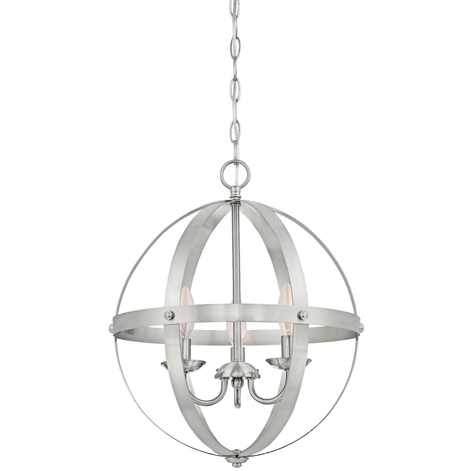 Westinghouse 6341900 Stella Mira Three-Light Indoor Chandelier, Brushed Nickel Finish