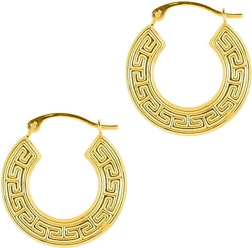 """1/"""" Crossover Greek Key Design Hoop Earring in 925 Sterling Silver Nickel Free"""
