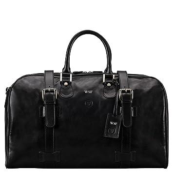 Maxwell Scott® Personalizada Lujo Italiano Bolsa de viaje (Piel (FleroM) Negro Night Black: Amazon.es: Equipaje