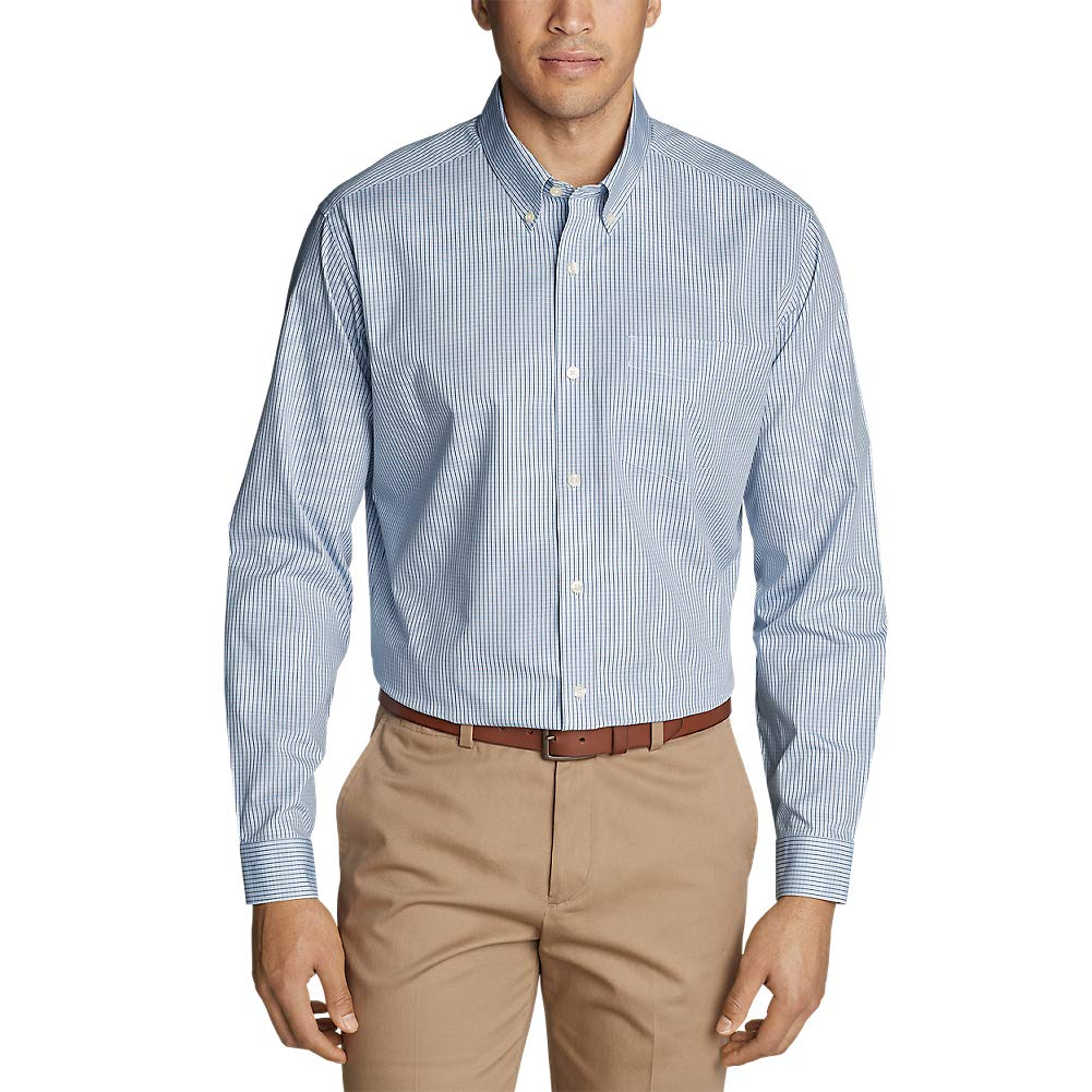 34f10875ba Eddie Bauer Men s Wrinkle-Free Relaxed Fit Pinpoint Oxford Shirt - Blues at  Amazon Men s Clothing store