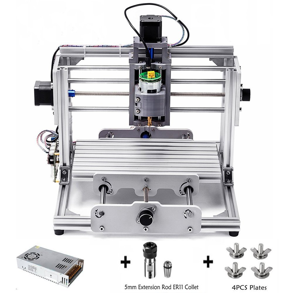 DIY CNC Router Kit, 24x17cm, Mini Milling Machine, GRBL Control Wood Carving Milling Engraving Machine with ER11 and 5mm extension rod for Wood, Acrylic, Pvc, Pcb
