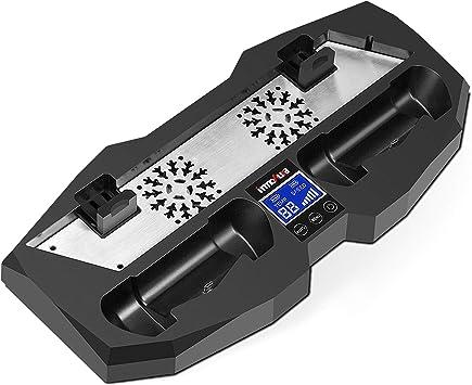 innoAura Soporte Vertical para PS4 Slim / PS4 / PS4 Pro, Estación de Carga Todo en uno con Ventiladores de Doble Refrigeración para Consolas PlayStation 4: Amazon.es: Electrónica