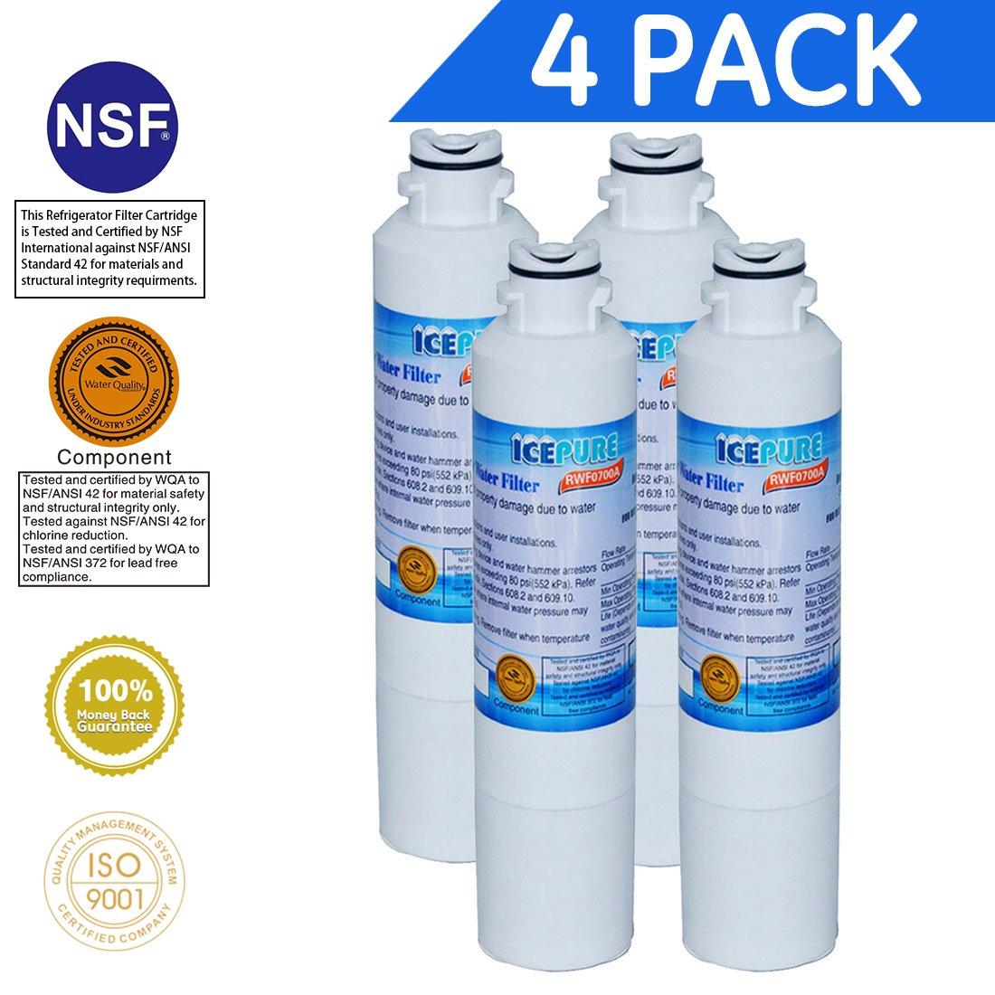 Icepure DA2900020B replacement refrigerator water filter For Samsung DA2900020B,DA2900020A,HAF-CIN(4-Pack)