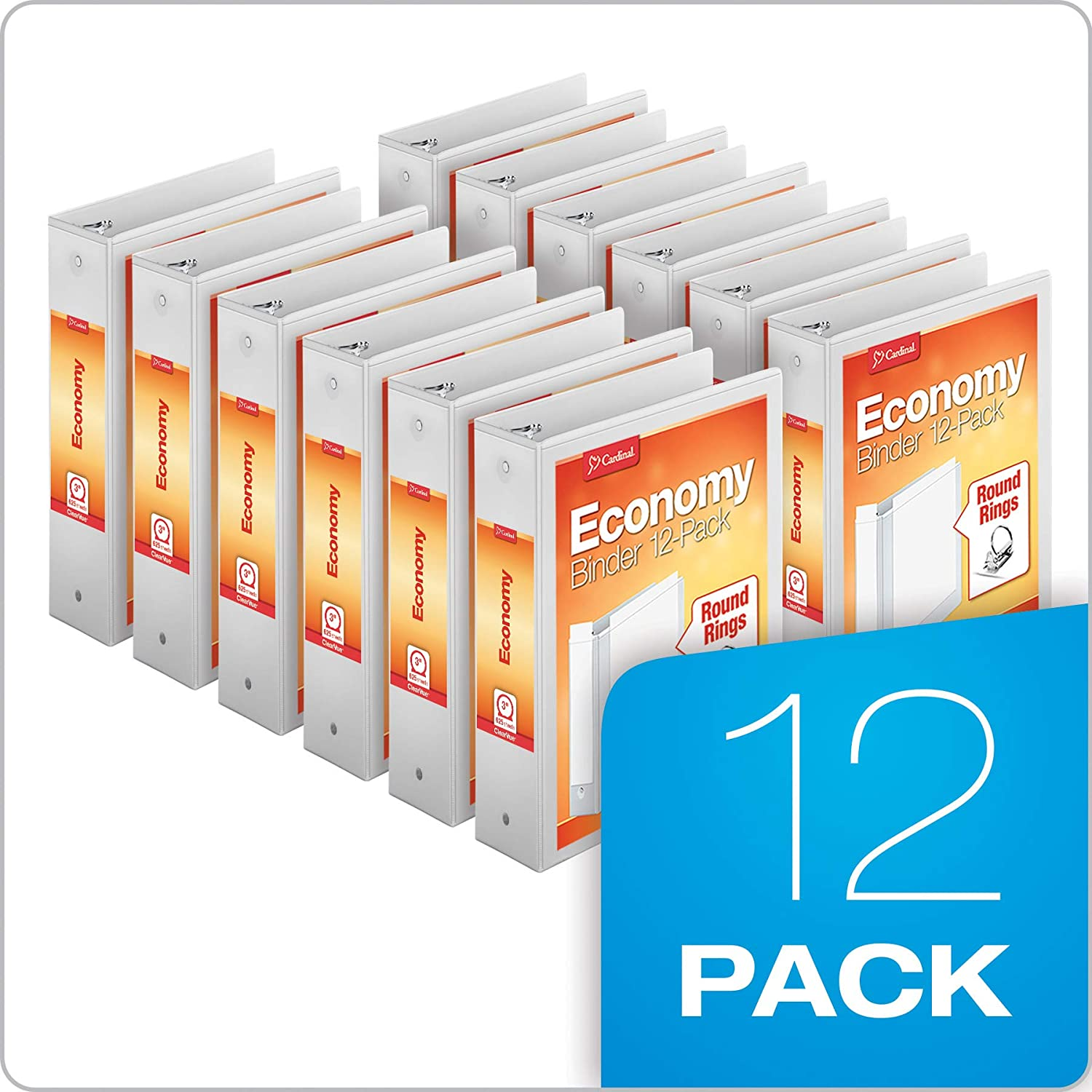"""Cardinal Economy 3-Ring Binders, 3"""", Round Rings, Holds 625 Sheets, ClearVue Presentation View, Non-Stick, White, Carton of 12 (90651) : View Binders : Office Products"""