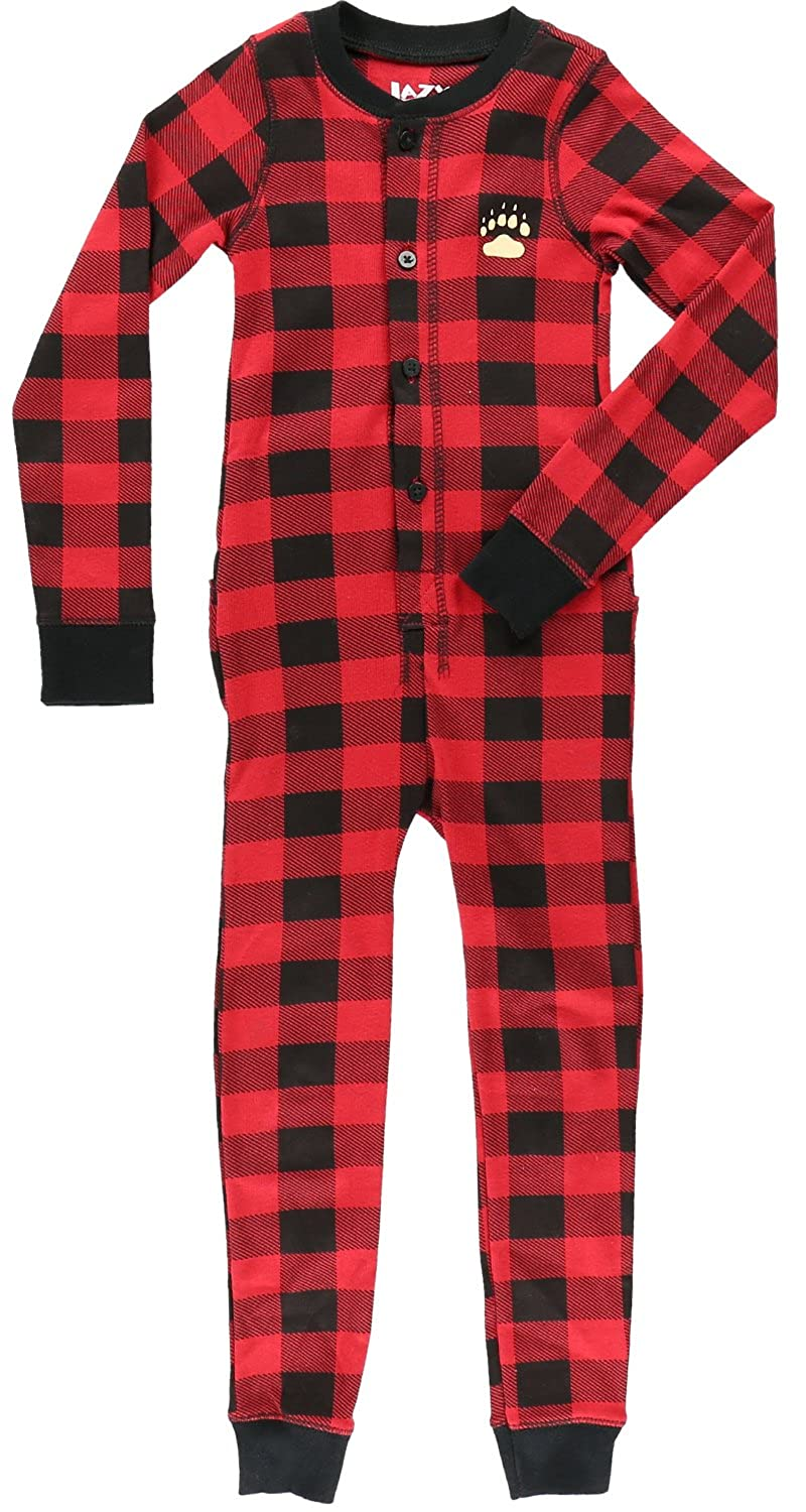 LazyOne Unisex Plaid Bear Cheeks Kids All-in-One Flapjack