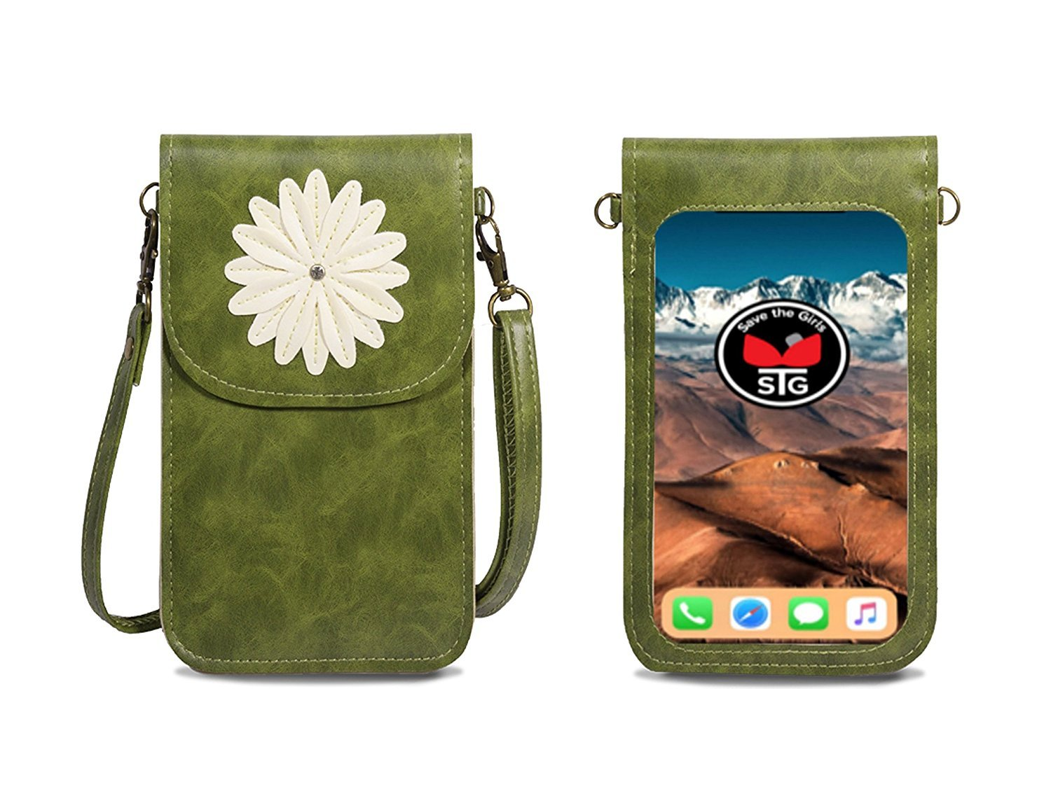Vertical Daisy Purse (Touch Screen) Cell Phone Purse with Extra Pocket - Argula Green