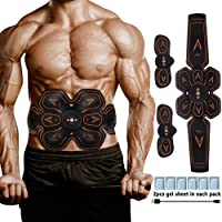 ZUYE EMS Muscle Stimulator Abs Stimulator Belt USB Rechargeable Abdominal Toner 6 Pack Muscle Training for Men Women Abdomen Leg Arm Muscle Trainer in Home Office Fat Burner with Gel Sheet