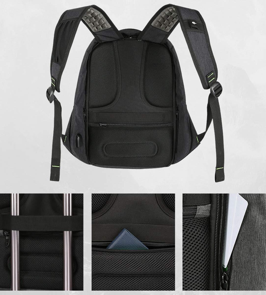 AHWZ 15,6 antirrobo Mochila antirrobo 15,6 para portátil con Carga USB y Tiras Reflectantes,Negro 687e05
