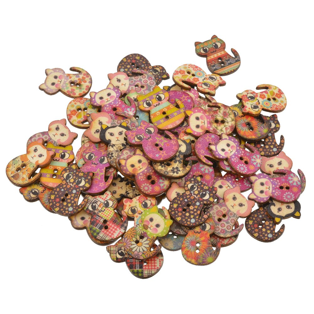 Souarts Mixed Random 2 Holes Cat Shape Wood Wooden Buttons for Sewing Crafting Pack of 100 Hellocrafts