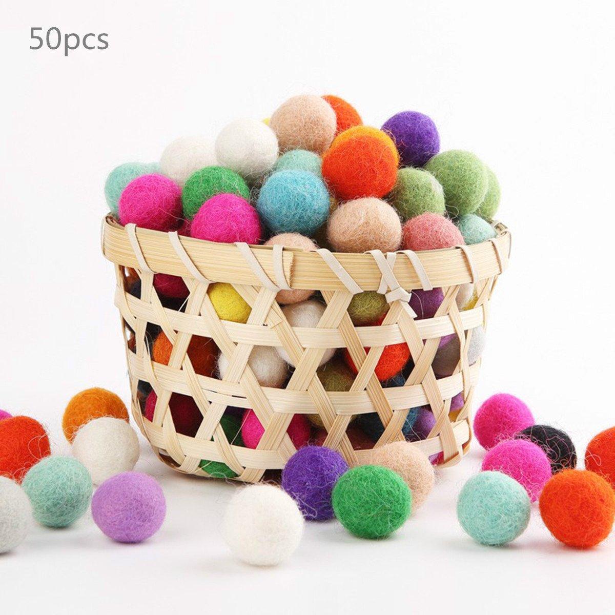 Baby Love Home Wool Felt Beads 50pc 100% Wool 2cm Flocking Ball DIY Christmas Decor Mix Color Wool Balls Holiday Theme