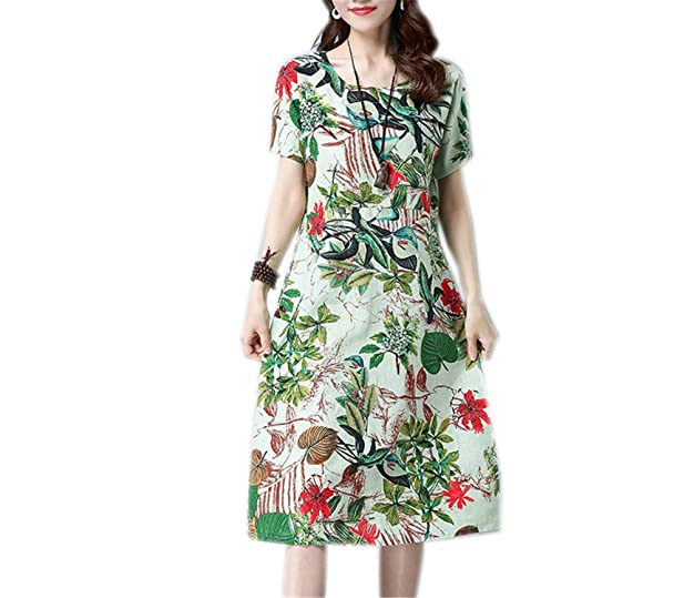 Aibenben Fashion cotton linen vintage print women casual loose summer dress vestidos femininos party dresses light