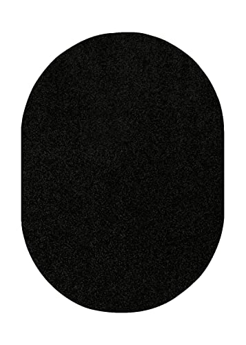Bright House Solid Color Oval Shape Area Rugs Black – 4 x6 Oval