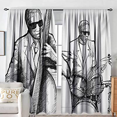"""Print Pattern Curtains Jazz Music,Illustration of a Jazz Band Musicians Playing Drum Music Concert Performance,Black White,for Room Darkening Panels for Living Room, Bedroom 84""""x84"""": Home & Kitchen"""