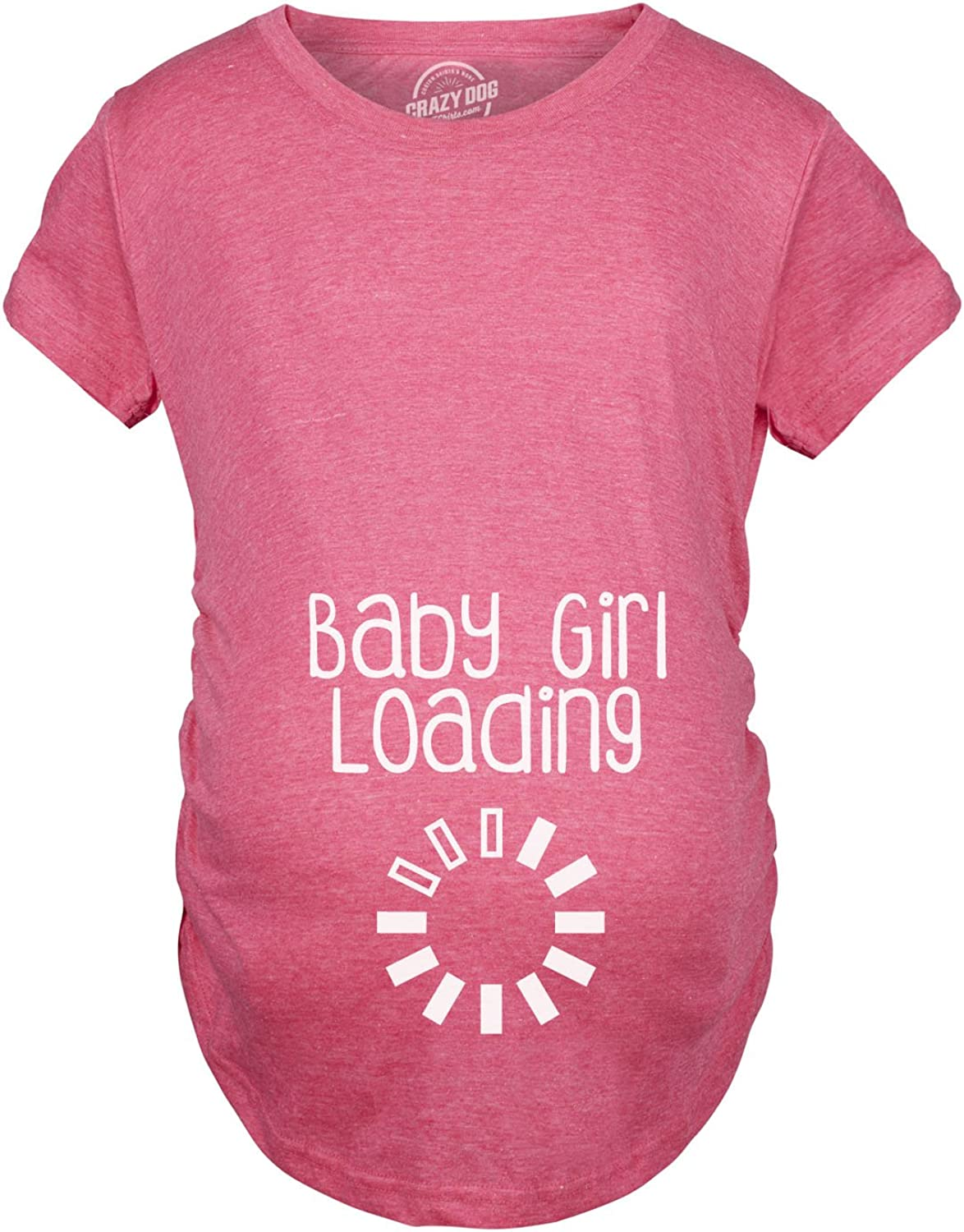 Maternity Baby Girl Loading T Shirt Funny Pregnancy Announcement Reveal Cool Tee