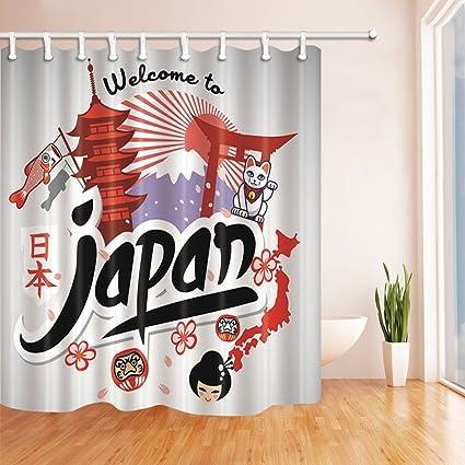 Asians Tourist Decor Cartoon Animals Travel Japan Shower Curtains Mildew Resistant Polyester Fabric Bathroom Decorations