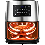 Air Fryer,6.3 Quart 1700W Wide Temperature Range,Oilless cooker with 10 Preset LED Touchscreen,Detachable Dual Nonstick baske