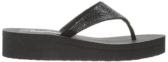 Skechers Women's Diamonte Vinyasa Platform Flip Flop Black