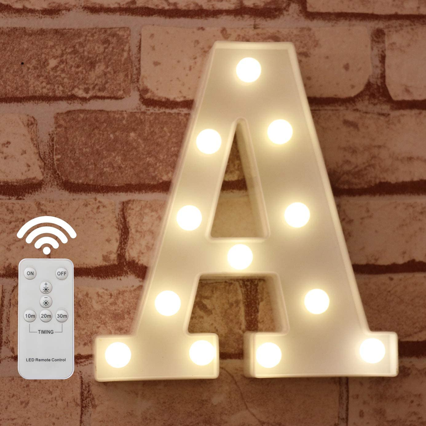 LED Letter Lights Alphabet Light Up Marquee Letter Signs with Wireless Timer Remote Control Dimmable for Wedding Home Party Bar Decoration