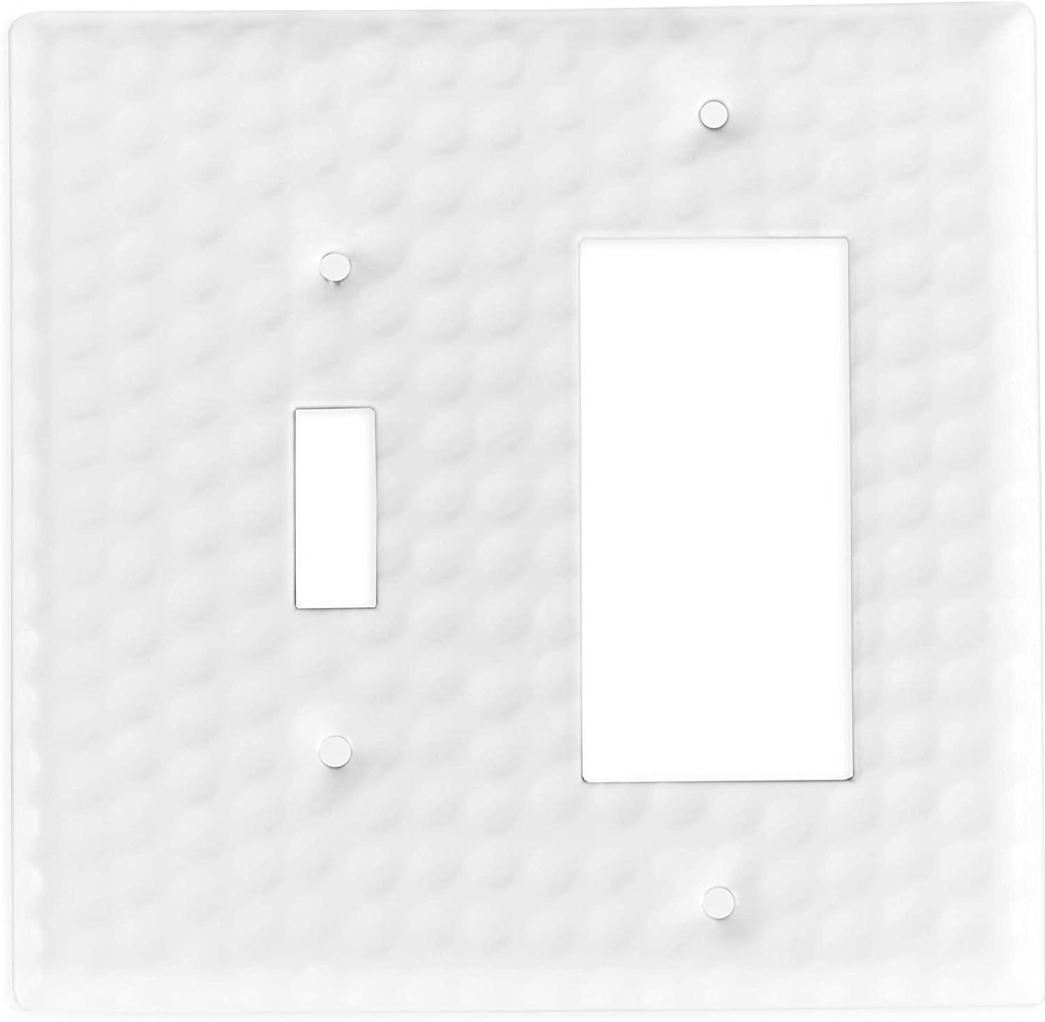 Monarch Abode 19011 Hand Hammered Single Rocker Wall Switch Plate, Classic White