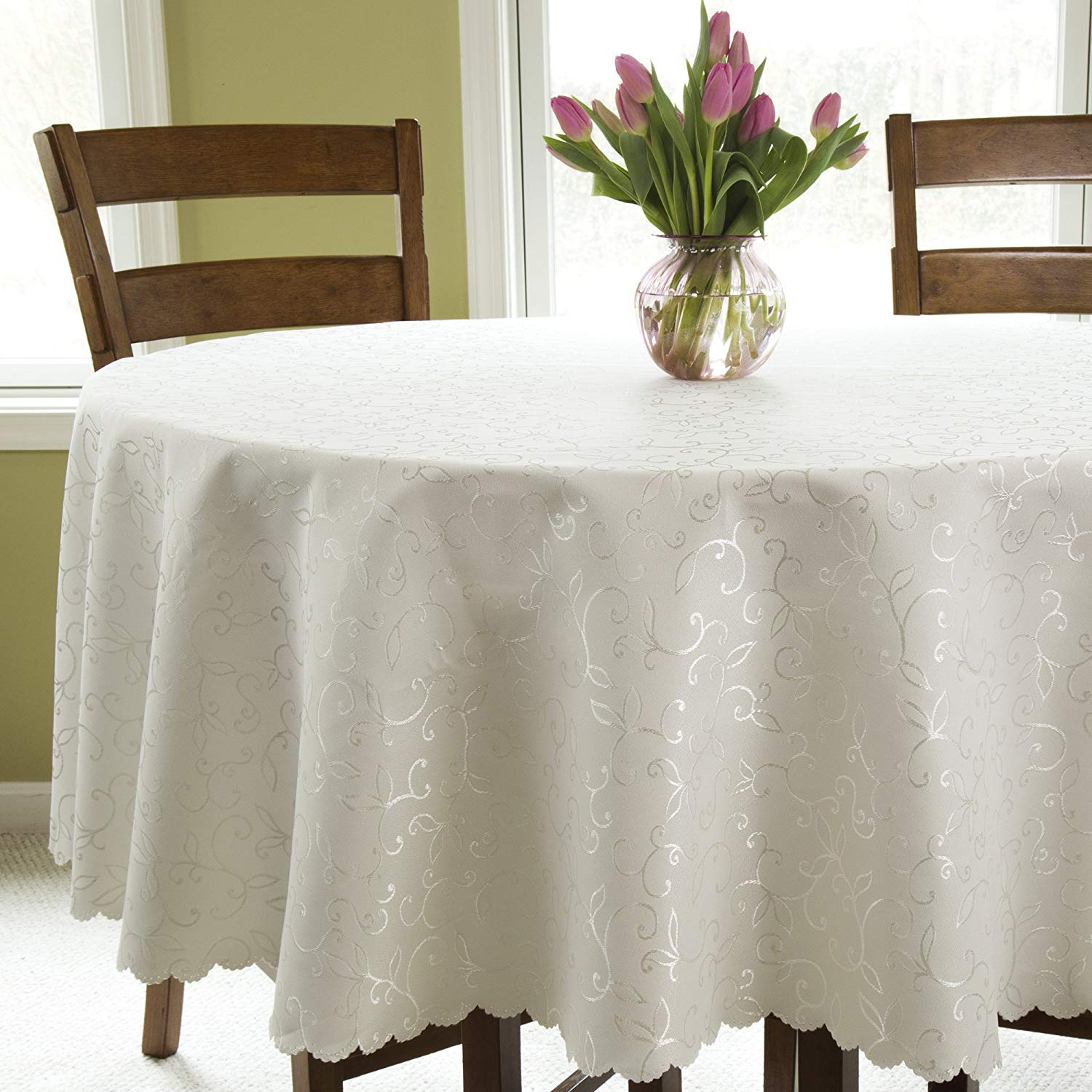 """Turkish Round Tablecloth Polyester Table Cover - Stain Resistant Wrinkle free Non-Iron Dust-proof Oblong Square Round – Table linen for Wedding Christmas New Year eve Dinner Gift (IVORY, Round 50"""")"""